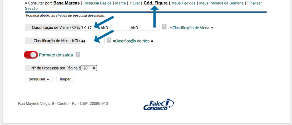 Captura de tela da busca figurativa no banco de dados do INPI